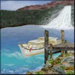 Bootssteg am Wasserfall